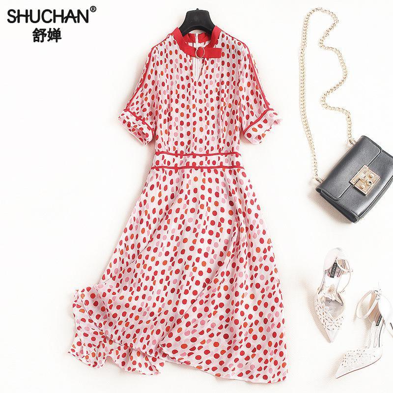 SHUCHAN Natural Silk High Quality Dresses Women Vintage Dot Short O-neck Knee-length Retro Women