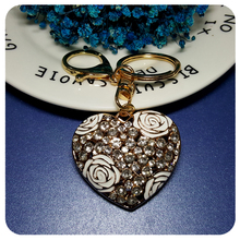 Rhinestone Heart Shape with Roses Handbag Charm Ornament  Accessory Fantastic 3D Key Chain Gift
