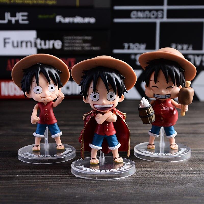 Toys & Hobbies 3pcs/lot One Piece Doll Luffy Figure Sets Monkey D Luffy Toys Pvc Figurine 13cm Cheap Sales