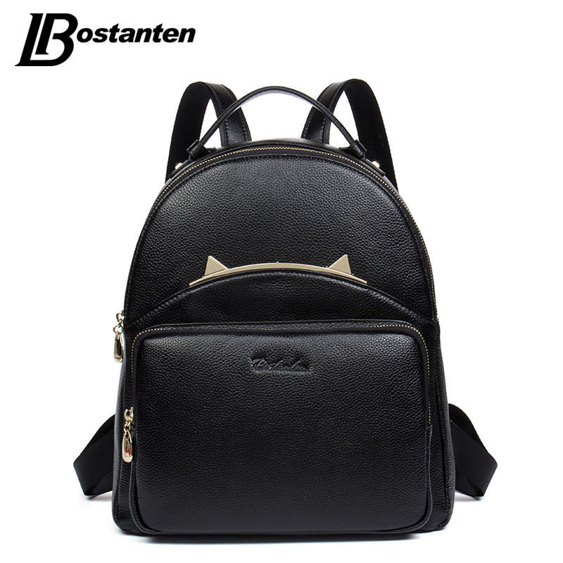 Фотография BOSTANTEN Geniune Leather Shoulder Bag Women Backpacks Fashion High Quality Small Backpack Shoulder School Bags For Girls