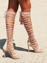 2016 echte Licht Rosa Frauen Sommer Stil Stiefel Lace Up Bota Feminina Plus Größe US15 Botines Mujer Frauen Party Schuhe Botas