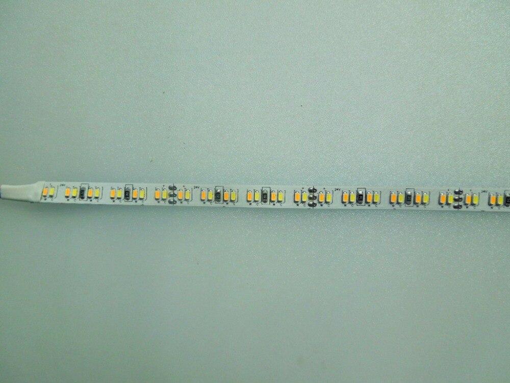 3014 SMD 240 leds/m DC24V led dual farbe CCT einstellbare flexible streifen; 5 mt lange; 120 Watt; weiß PCB; nicht wasserdicht; IP33