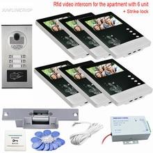 цена на 6 Apartments Rfid Interphone Video Intercom With Lock Door Phone 4.3