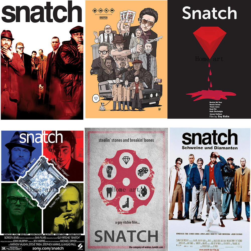 Snatch Movie Poster Clear Image Wall Stickers Home Decoration Good Quality Prints White Coated Paper Home Art Brand