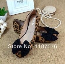 Hot models sweet big bow fashion leopard head flat shoes women's flats size 35-41
