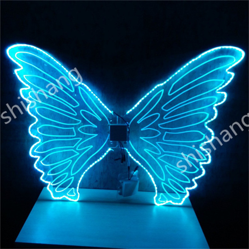 CY05 Colorful <font><b>LED</b></font> light illuminated glowing luminous butterfly <font><b>wings</b></font> ballroom dancing belly party event dj disco dress costume