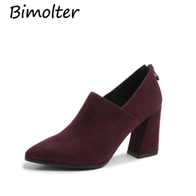 Bimolter Women Sheep suede Deep mouth Spike Heels Genuine Leather Shoes Women Pumps 2019 New High Heels Retro Office Shoes NA032