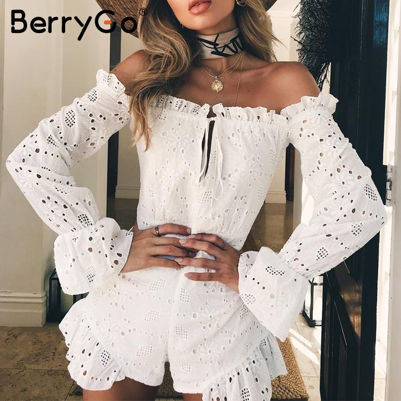 BerryGo Off shoulder hollow out sexy romper Women ruffles cotton white   jumpsuit   overalls Casual beach summer playsuits macacao