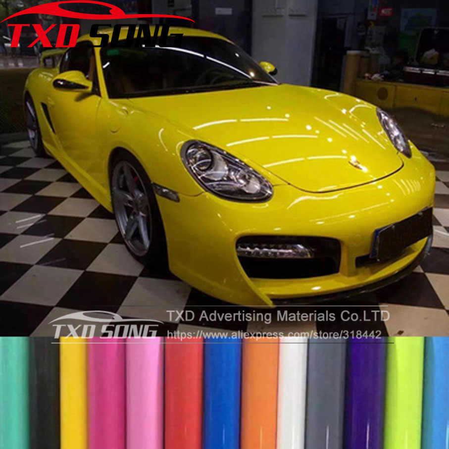 Premium Heldere Glossy Vinyl Glossy car wrap Vinyl Film Gloss Black Wrap Bubble Gratis auto sticker auto decoratie film