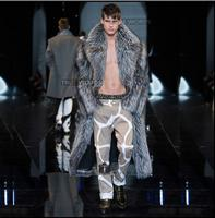 Известный бренд Мужская имитация лисы пальто с мехом Длинный дизайн экологичный мех пальто Мужчины толстые искусственная кожа шерсть Мужс