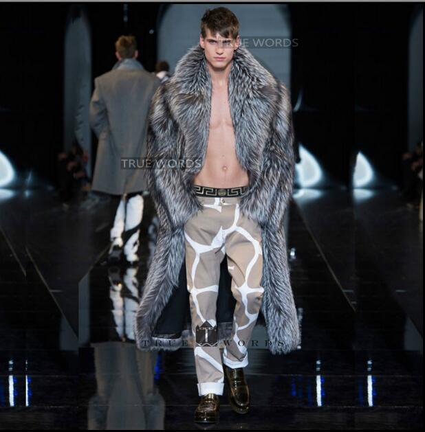 Famous Brand Men's Imitation Fox Fur Coat Long Design Eco-friendly Fur Overcoat Men Thick Faux Leather Wool Male Outerwear