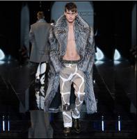 Famous brand men's Imitation fox fur coat long design eco friendly fur overcoat men thick faux leather wool male outerwear