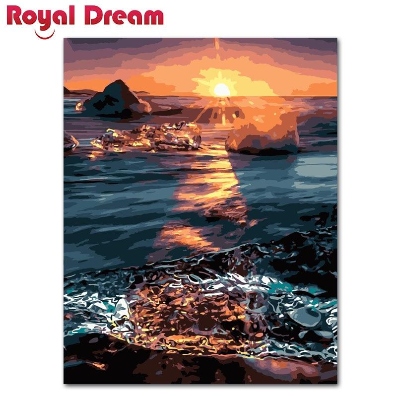 Ev Ve Bahce Ten Resim Ve Hat De Cercevesiz Sunset Over Deniz