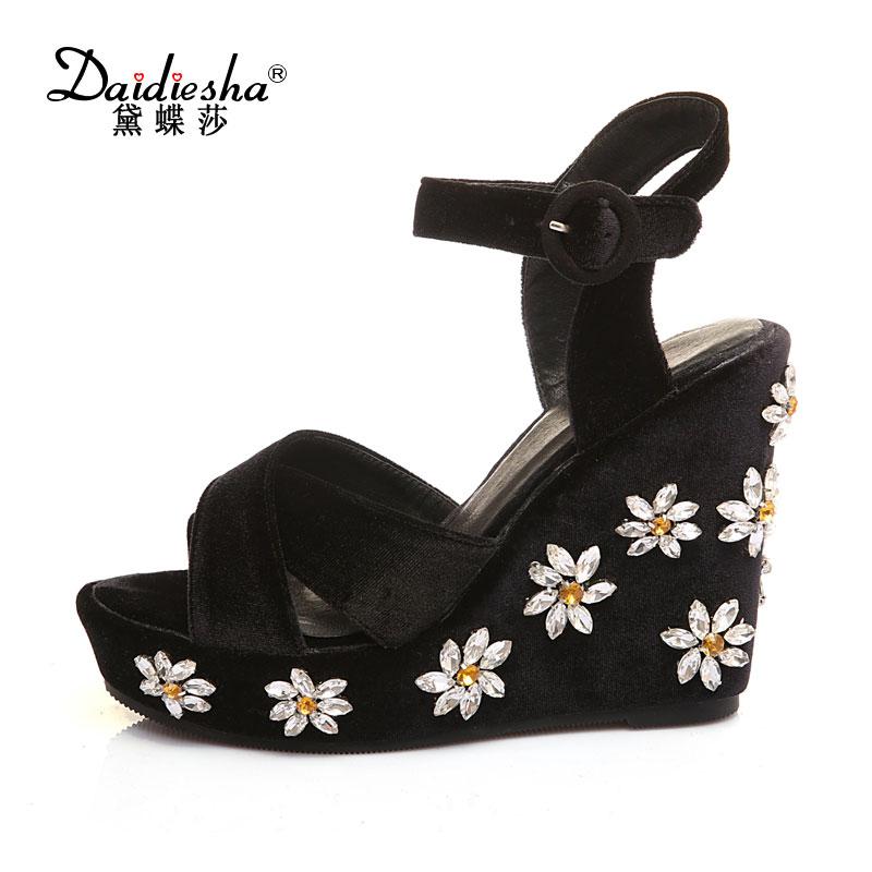 Daidiesha Women Wedge Sandals Rhinestone Platform Heeled Shoes Genuine Leather Summer Party Wedding Shoes Glitter Wedge Heels