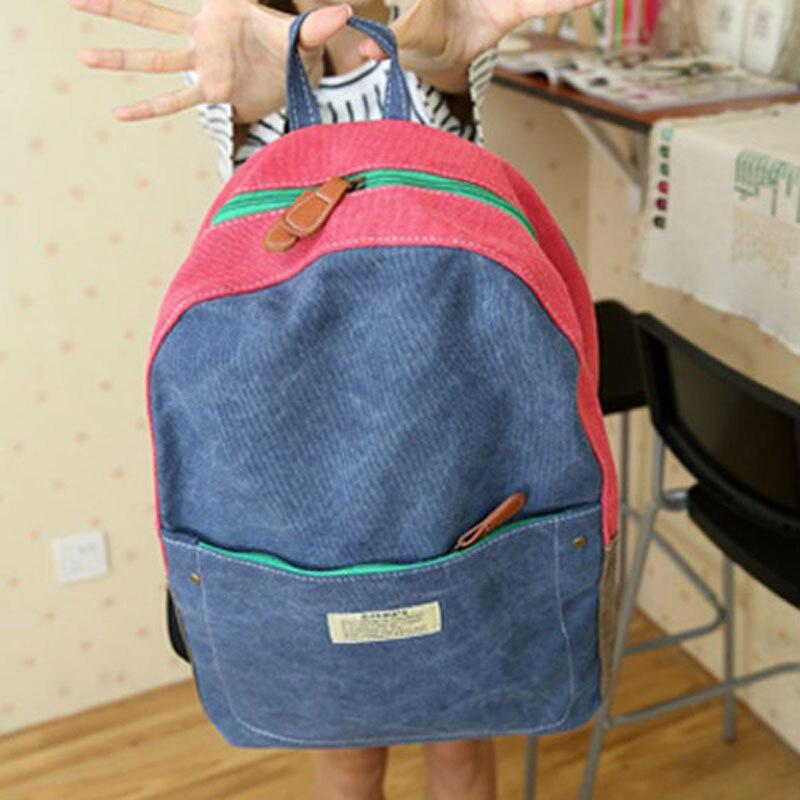 ФОТО 2015 new women stitching shoulder bag backpack student school backpacks free shipping
