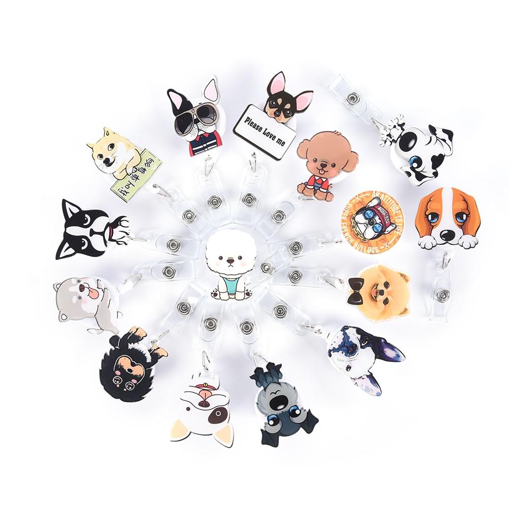 1Pcs Cute Mini Cartoon Dog Retractable Badge Reel Nurse Exihibiton ID Name Card Badge Holder