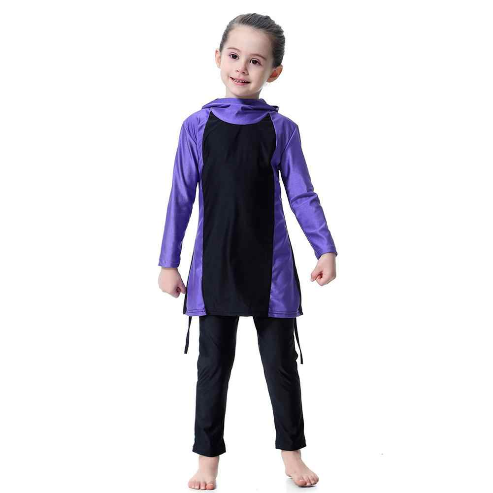Dragonpad 2 Pcs/set Anak Gadis Gaya Muslim Lengan Panjang Baju Renang Set Baju Renang Anak-anak Berenang Jas Teen Swimsuit Anak Baju Berenang memakai