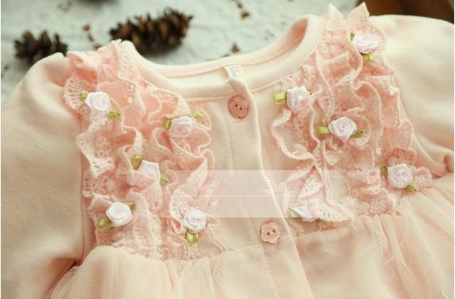2019 Spring and autumn 0-2 yrs baby clothing floral lace lovely princess newborn baby tutu dress infant dresses vestido infantil 3