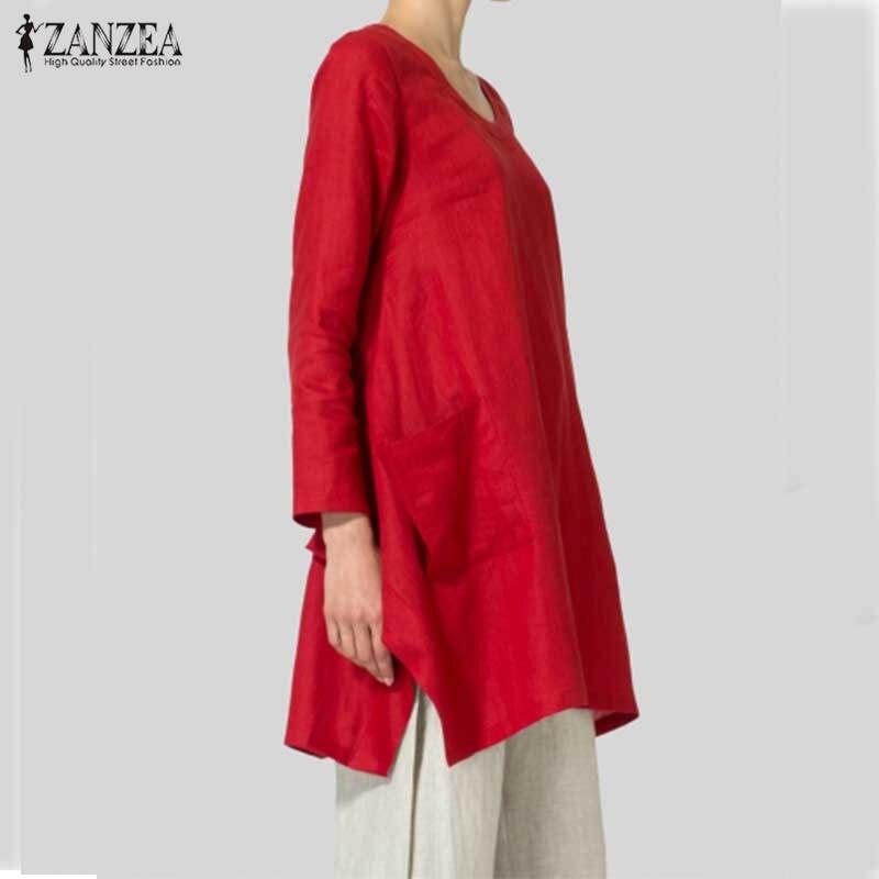 New ZANZEA 2018 Women Blouse Autumn Vintage Cotton Shirts Long Sleeve Asymmetrical Split Hem Blusas Long Tops Plus Size