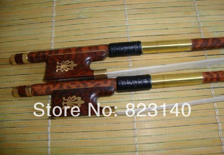 2 PCs Baroque Violin bow, High Quality Violin bow 4/4 snake wood violin bow and snake wood fro 1 pc high quality double bass bow 3 4 baroque bass bow snake wood