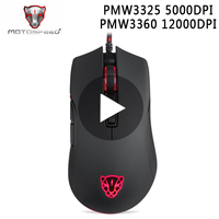 Motospeed V70 PMW3360 PMW3325 Optical Game Gaming For Laptop PC Computer Mouse Gamer Mause Wired With Backlight Ergonomic RGB