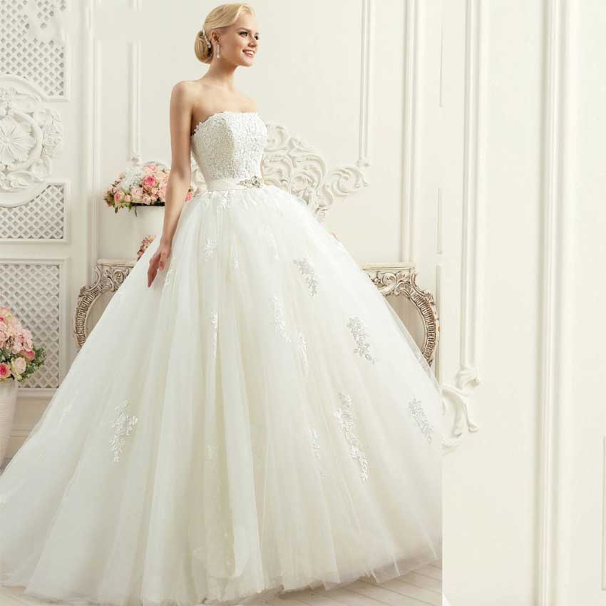 Wedding Gowns With Sashes: DW2361 Noble Crystal Beading Wedding Dresses Strapless