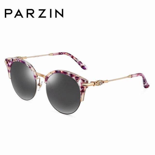 88da3c5e43 PARZIN Fashion Semi-Rimless Round Polarized Sunglasses For Women Cute  Floral Frame Sun Glasses Accessories 9675