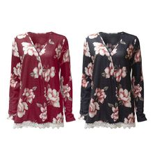 Womens Spring Plus Size Long Sleeves Open Front Drape Cardigan Bohemian Floral Printed Hollow Crochet Lace Trim Blouse Tops Slim