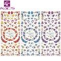 KADS 3 Листов/комплект HOT052-054 Воды пропуск Ногтей Наклейки Цветочный дизайн ногтей наклейки Для ногтей аксессуары для ногтей стикер