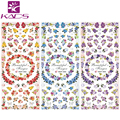 KADS 3 Sheet/set HOT052-054 Water decal Nail Sticker Flower design nail sticker For nail accessories for water nail sticker