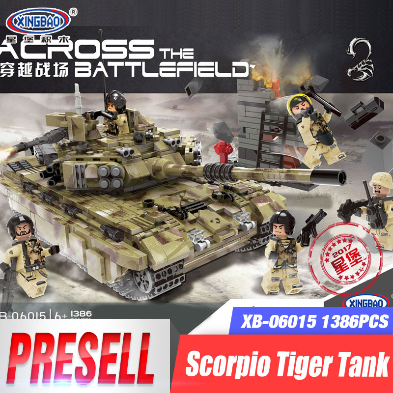 XINGBAO 06015 Genuine 1386Pcs Military Series The Scorpio Tiger Tank Set Building Blocks Bricks Toys Educational Christmas Gifts 8 in 1 military ship building blocks toys for boys