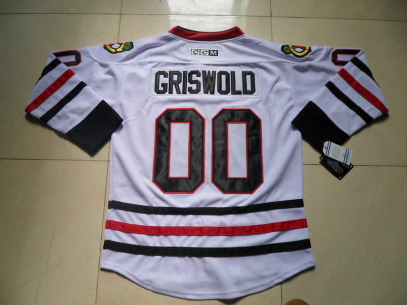 Wholesale Authentic Chicago Blackhawks  00 Clark Griswold Jersey White 100%  Sewn Stitched Ice Hockey Jerseys Free Shipping bc534b2db
