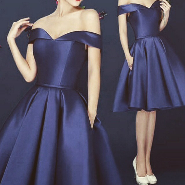 25baff9f3624 Chic Off Shoulder Navy Blue Short Prom Dress Knee Length Draped Satin  Homecoming Dress 2015-in Prom Dresses from Weddings   Events on  Aliexpress.com ...