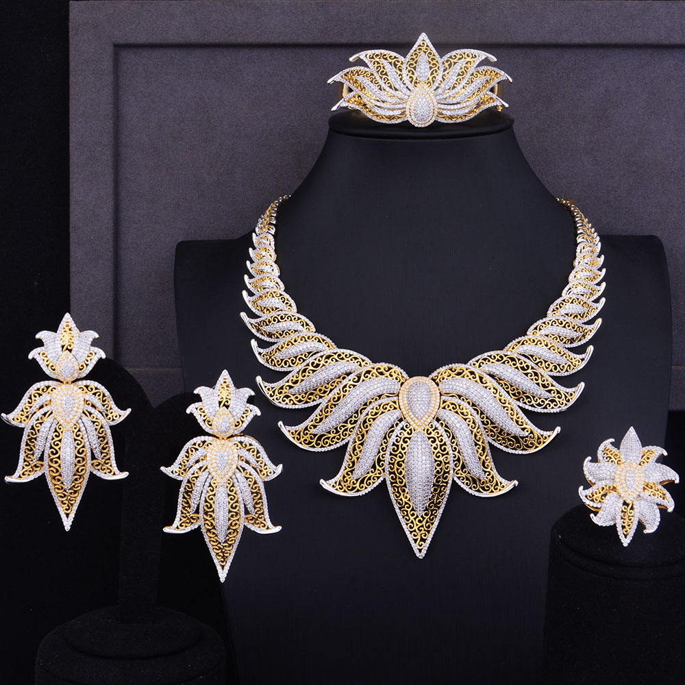 GODKI Luxury Crown Leaf Leaves Jewelry Sets Wedding Red Cubic Zirconia Statement Necklace Earrings Sets for