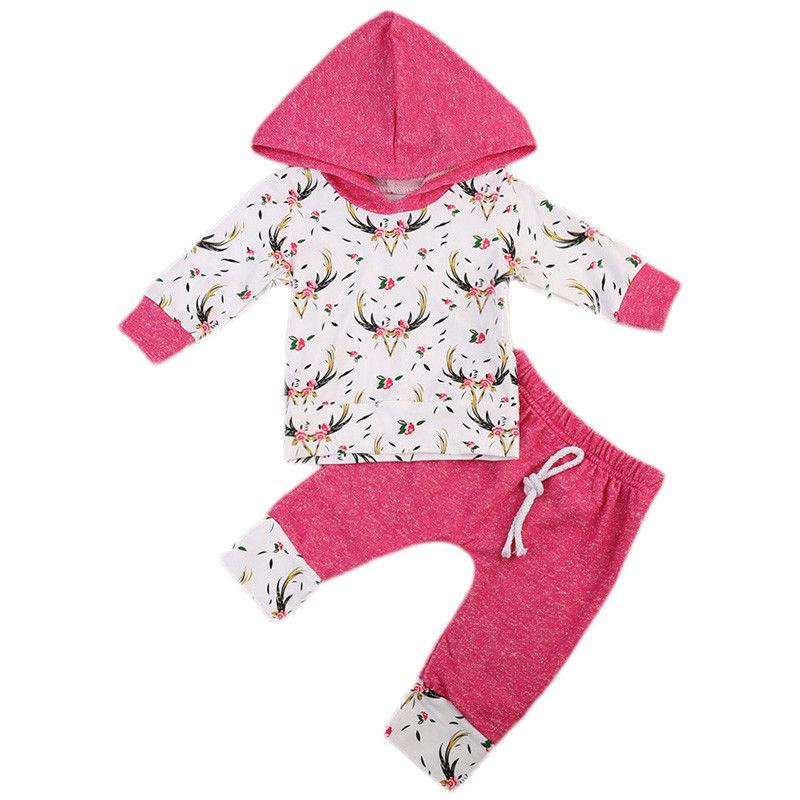 Autumn Baby Girl Hooded Tops+Long Pants Leggings 2pcs Outfits Set Clothes Long Sleeve Kids Cotton Print Hoodies Clothing Sets