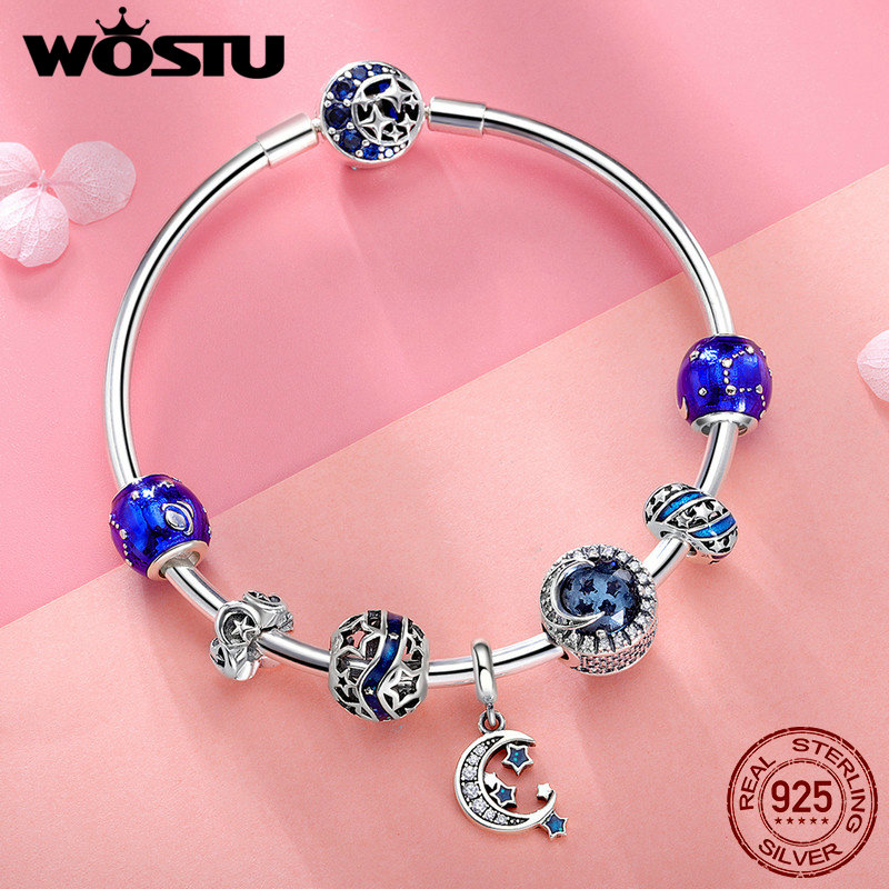 WOSTU Hot Sale 925 Sterling Silver Moon & Stars Blue Sky Charm Bracelet For Women Original Beads Jewelry Lover Gift BKB801