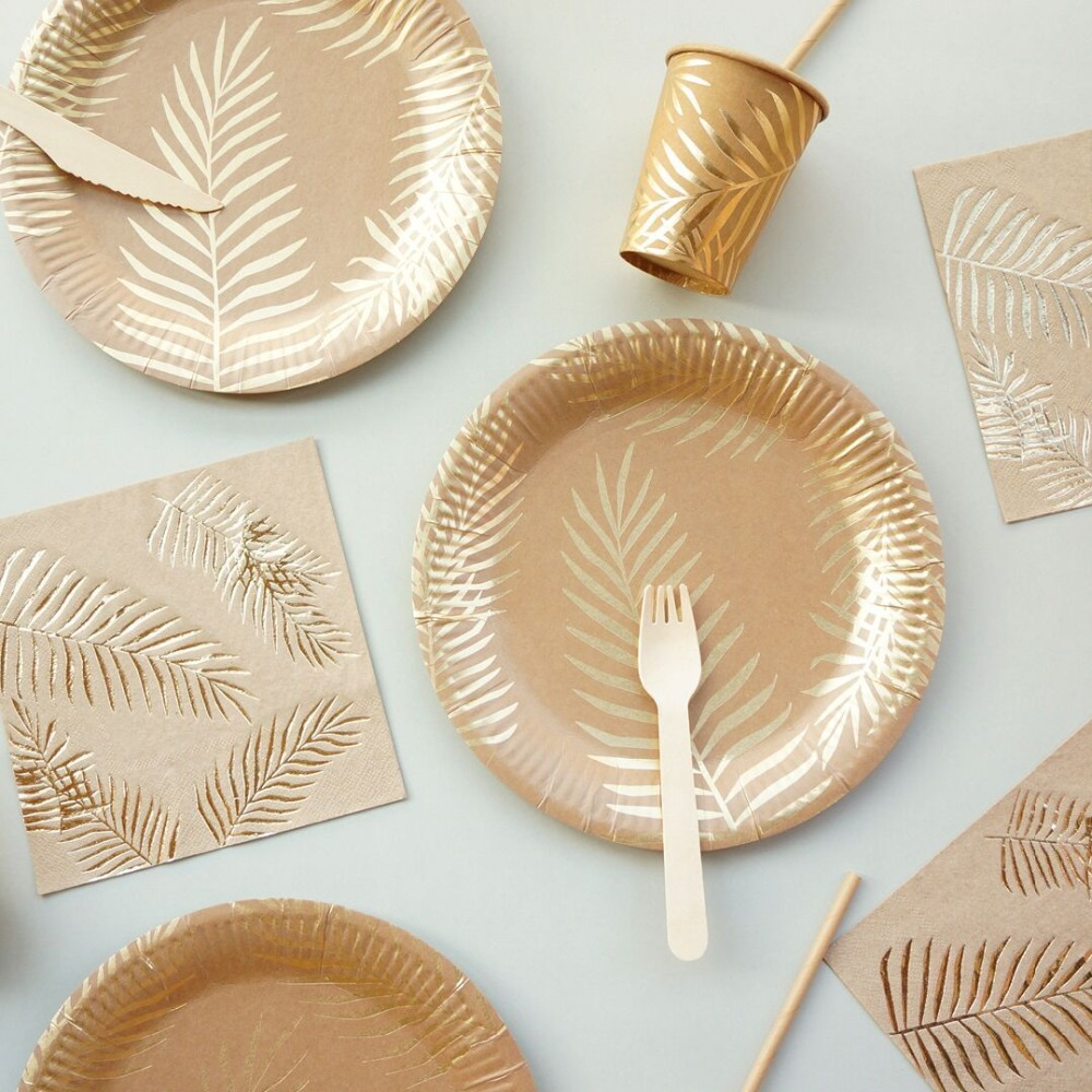 Palm Leaves Disposable Tableware Set Hot stamping Hawaii Party Decoration Tropical Tree Paper/Plates/Cups