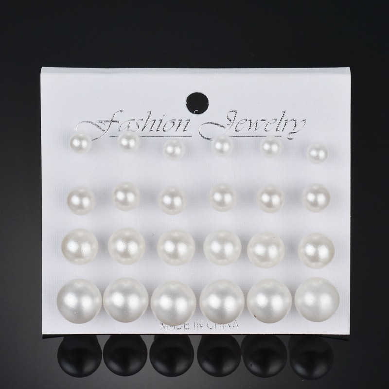 12 Pair Hot Sale White/Black Imitation Pearls Earrings for Women Wedding Bride Ball Stud Earrings Jewelry Gifts New Arrivals