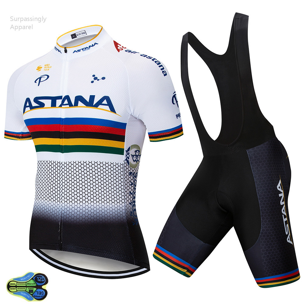 Cycling Clothing Us 21 65 25 Off 2019 Pro Uci Team Bike Clothing Astana Cycling Jersey Set White Ciclismo Jersey Short Sleeve Set Cycling Clothing Mtb Wear 12d In