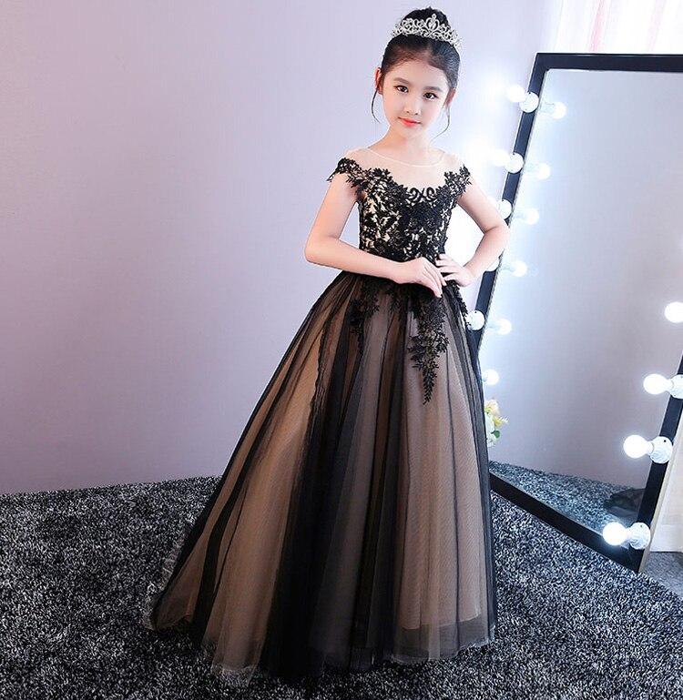 Sleeveless Black Flower Girl Dresses Tulle Evening Dressses Lace UP First Communion Dresses A-Line Mother Daughter Dresses