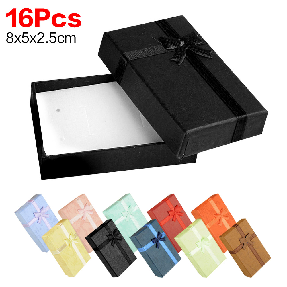 16pcs 8x5x2.5 cm Jewelry Sets Display Box Cardboard Necklace Earrings Ring Box 5*8 Packaging Gift Box with Sponge & Satin Ribbon