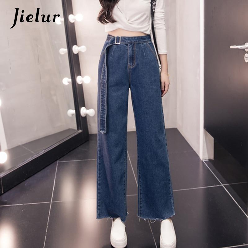 Jielur 2019 Autumn New Fashion Flare Pants Female Large Size S-5XL Sashes Blue   Jeans   for Women Slim Casual Loose Women's   Jeans