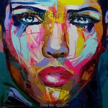 Palette knife painting portrait Face Oil Impasto figure on canvas Hand painted Francoise Nielly 13-12