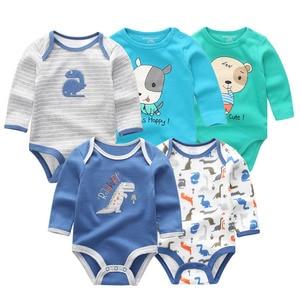 Image 3 - 5 PCS/lot newbron winter long sleeve baby rompers set baby jumpsuit girls baby girl romper roupa de bebe baby boy clothes