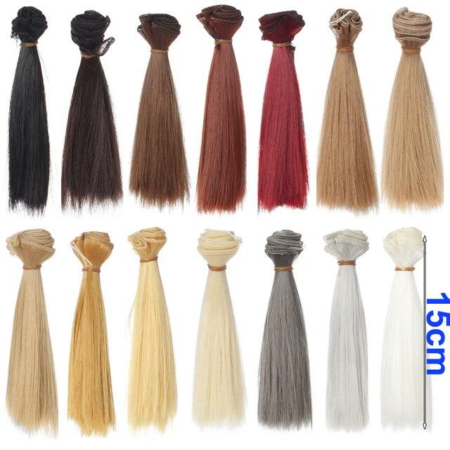 1 pcs reacionará bjd cabelo cabelo 15 cm * 100 CM de ouro preto brown khaki branco cor cinza em linha reta curta peruca de cabelo para 1/3 1/4 BJD diy