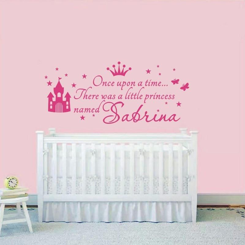 personnalis princesse fille nom stickers pour chambres d. Black Bedroom Furniture Sets. Home Design Ideas