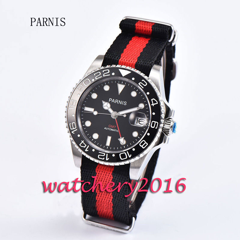 Fashion 40mm Parnis stainless case black dial ceramic bezel luminous marks sapphire glass GMT Automatic movement Men's Watch 40mm parnis black dial ceramic bezel pvd case luminous vintage sapphire automatic movement mens watch p145