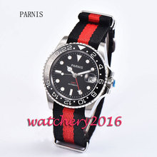 Fashion 40mm Parnis stainless case black dial ceramic bezel luminous marks sapphire glass GMT Automatic movement Men's Watch