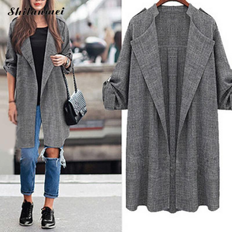Europe 2018 Women Long Coat Breasted Gray Suit Blazer Jacket Linen Suit Women's Plus Size Ladies Outerwear Female Work Suits 5XL