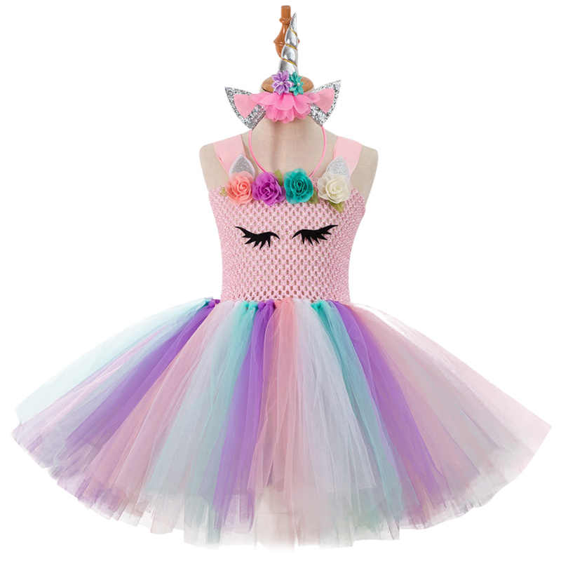 New Girls Unicorn Tutu Dress With Headband Baby Kids Flowers Unicorn Theme Birthday  Party Outfit Pony dca53aaca72b